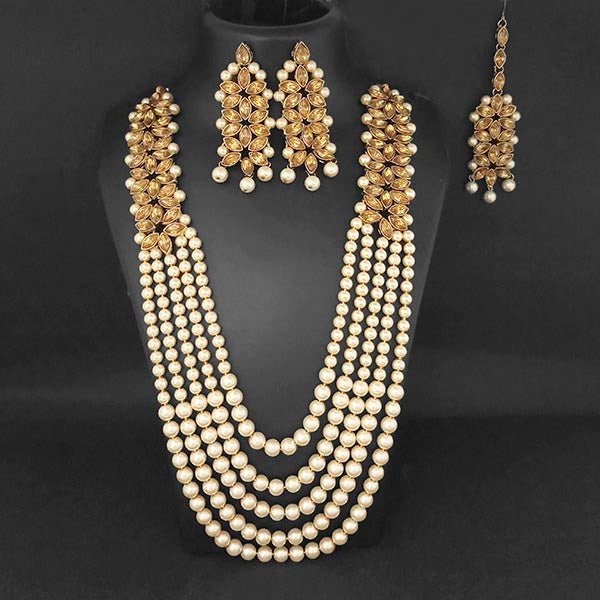Kriaa Brown Austrian Stone Maang Tikka Necklace Set