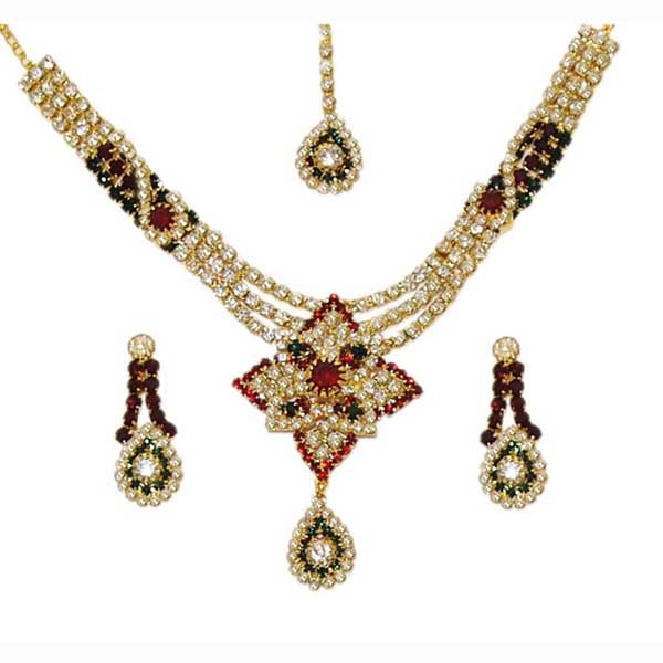 Kriaa Stone Drop Gold Plated Necklace Set With Maang Tikka