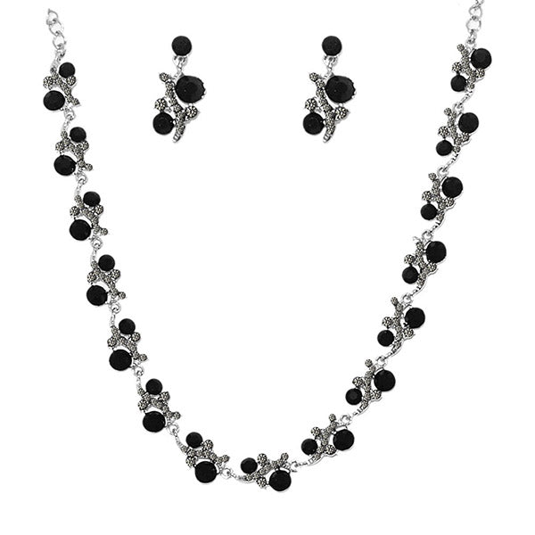 Urthn Black Austrian Stone Silver Plated  Necklace Set