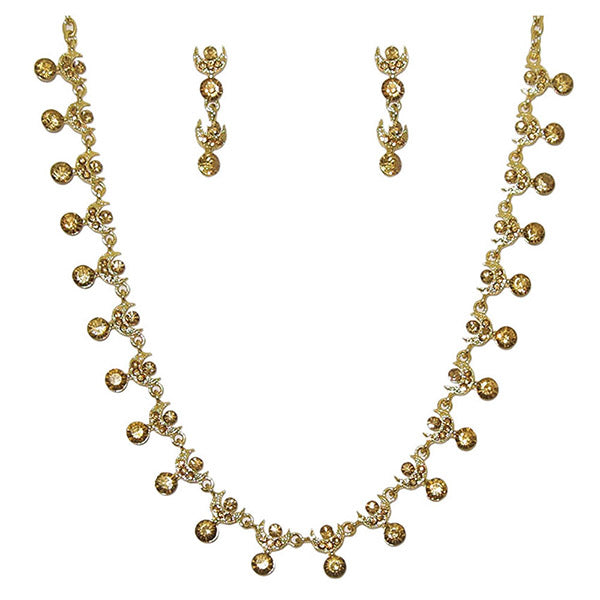 Kriaa Yellow Austrian Stone Gold Plated  Necklace Set
