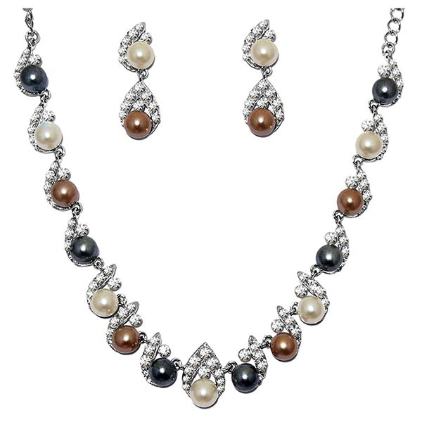 Kriaa Pearl Austrian Stone Silver Plated Necklace Set