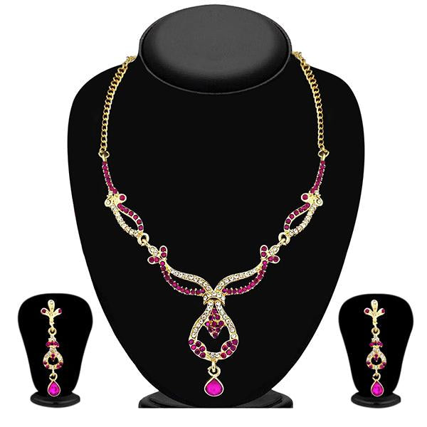The99Jewel Gold Plated Pink Austrian Stone Necklace Set - NB