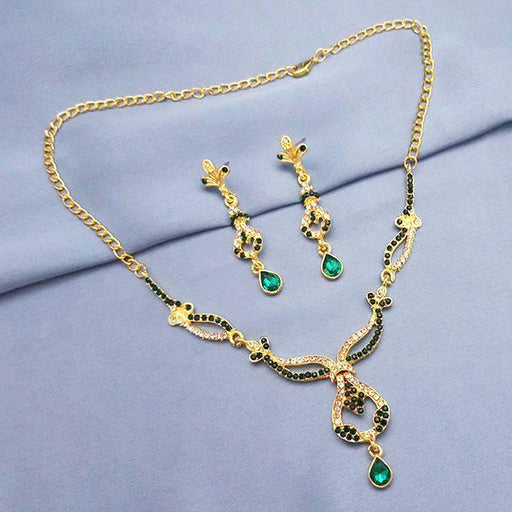 The99Jewel Gold Plated Green Stone Necklace Set - NB