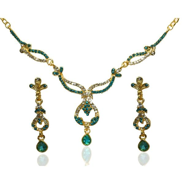 Soha Fashion Blue Austrian Stone Gold Plated Necklace Set