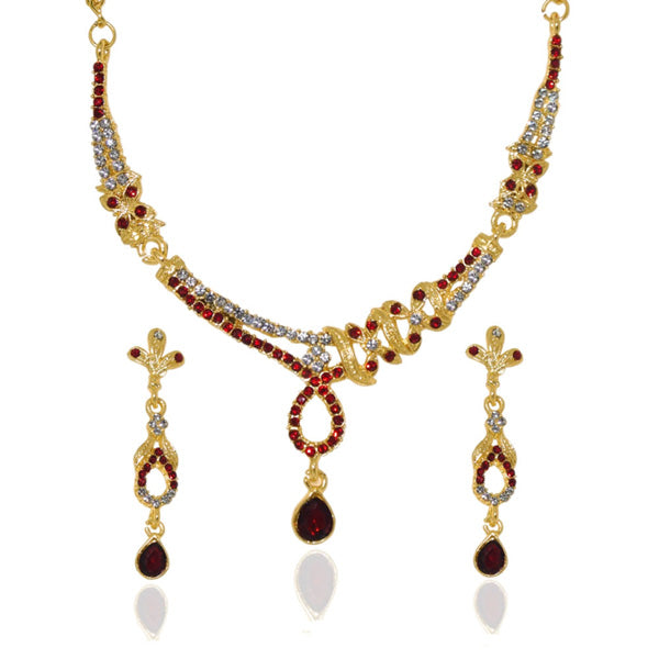 Soha Fashion Red Austrian Stone Gold Plated Necklace Set
