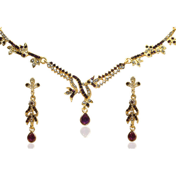 Kriaa Maroon Austrian Stone Gold Plated Necklace Set