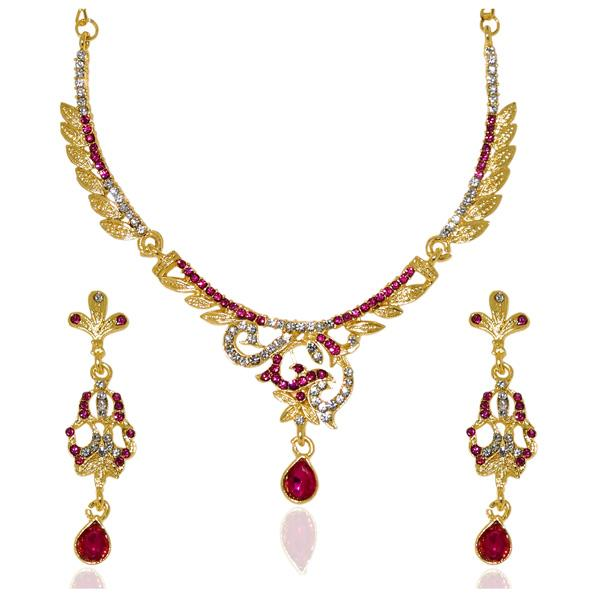 Kriaa Pink Austrian Stone Drop Gold Plated Necklace Set