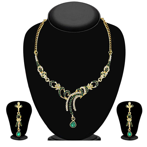 The99Jewel Green Austrian Stone Gold Plated Necklace Set