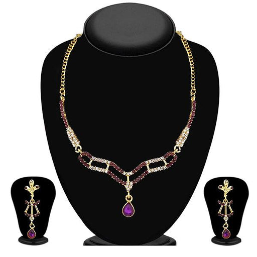Kriaa Gold Plated Purple Austrian Stone Necklace Set - NB