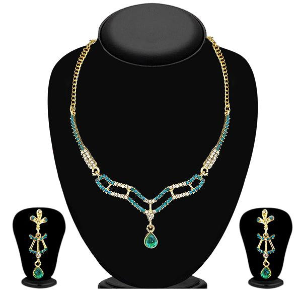 Kriaa Gold Plated Blue Austrian Stone Necklace Set - NB