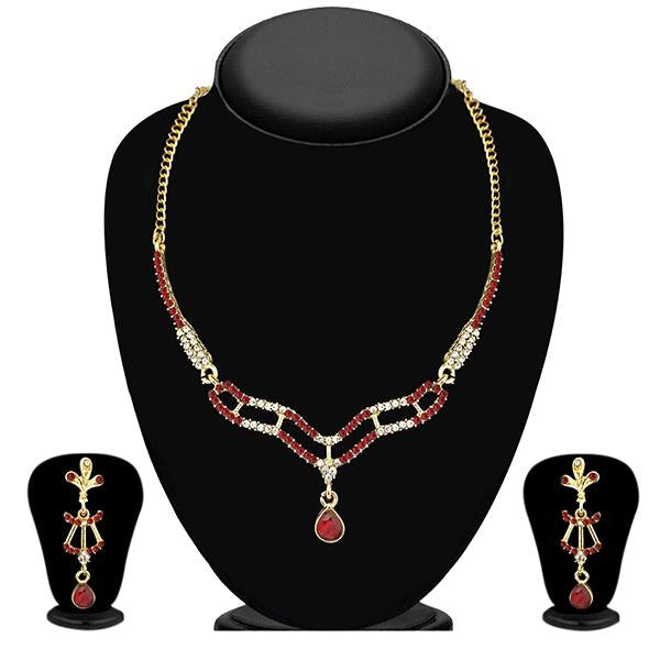 Soha Fashion Red Austrian Stone Gold Plated Necklace Set - NB