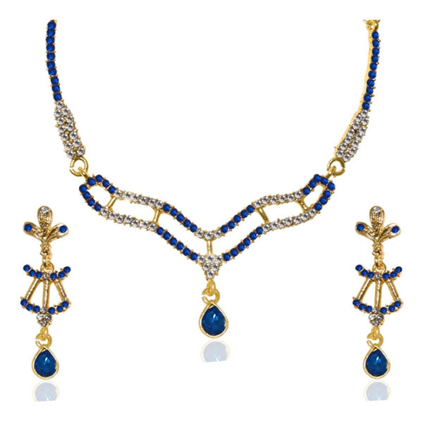 Kria Blue Austrian Stone Gold Plated Necklace Set