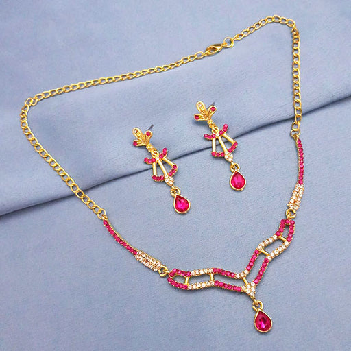 Soha Fashion Pink Austrian Stone Gold Plated Necklace Set