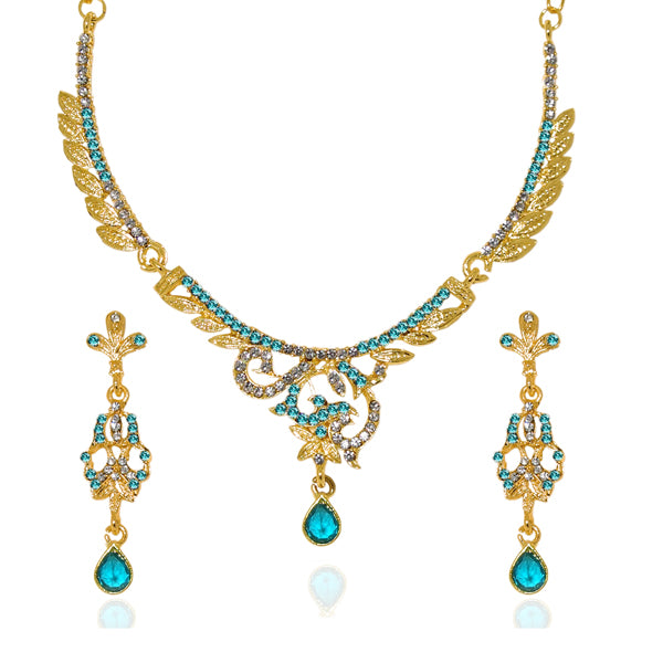 Kriaa Blue Austrian Stone Gold Plated Necklace Set