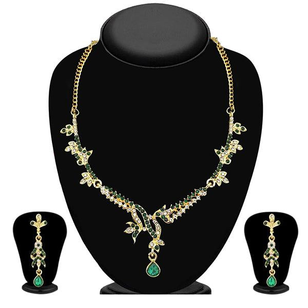 Kriaa Green Austrian Stone Gold Plated Necklace Set - NB