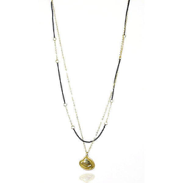 Urthn Gold Plated  Double Chain Statement Necklace