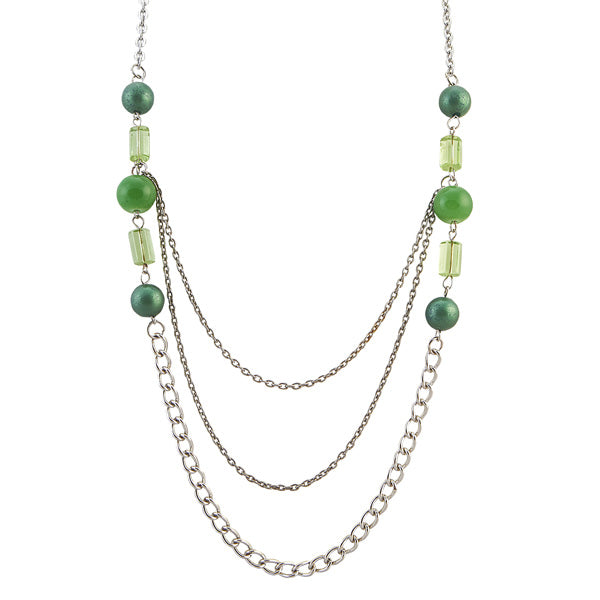 Urthn Beads Green Rhodium Chain Necklace Set