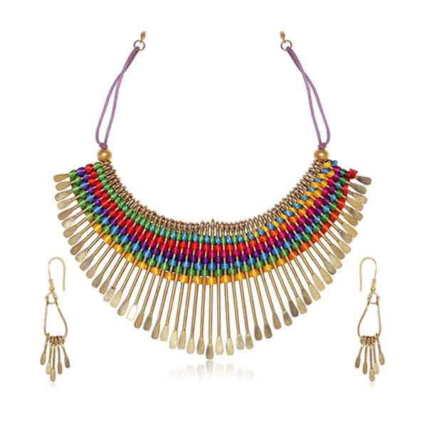 Beadside Multicolor Thread Fusion Necklace Set