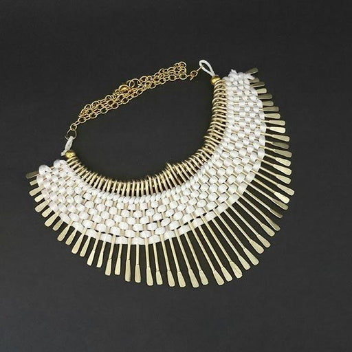 Urthn Gold Plated White Thread Statement Necklace