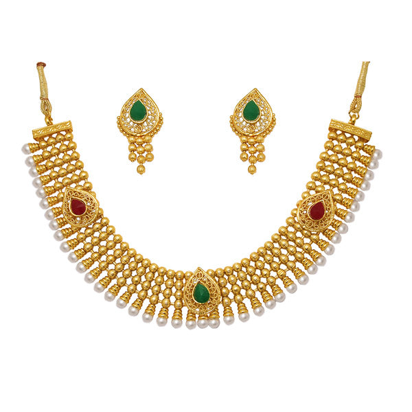 Utkrishtt Green Austrian Stone Gold Plated Necklace Set