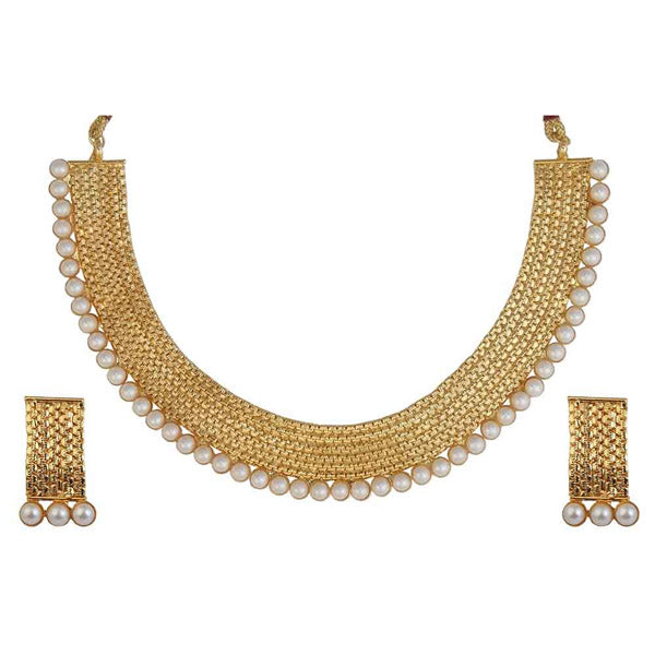 Utkrishtt Pearl Gold Plated Traditional Necklace Set