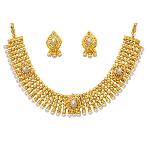 Utkrishtt White Pearl Gold plated Ethnic Necklace Set
