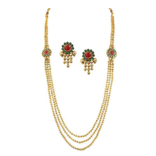 Kriaa Maroon Green Austrian Stone Gold Plated Necklace Set