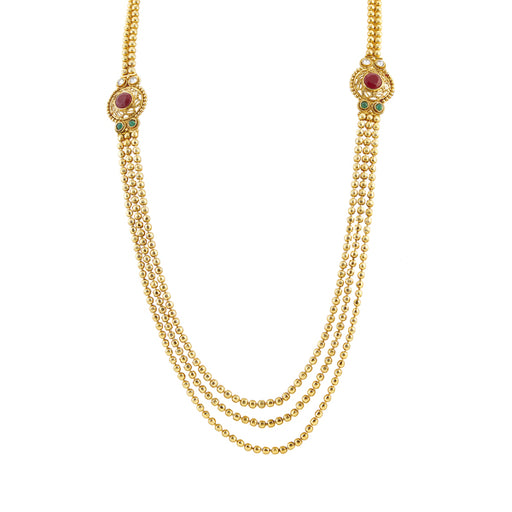Utkrishtt Gold Plated Maroon Pota Stone Necklace