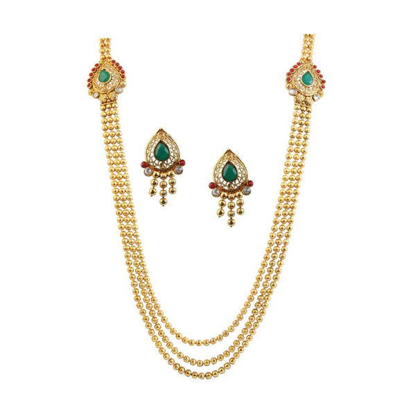Utkrishtt Green Austrian Stone Gold Plated Traditional Necklace Set