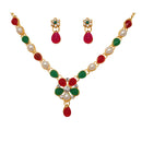 Kriaa Green Pota Stone Pearl Gold Plated Necklace Set