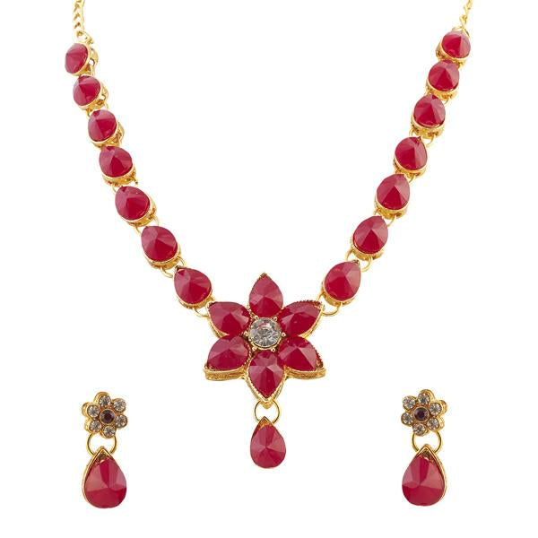 Kriaa Maroon Austrian Stone Gold Plated Ethnic Necklace Set