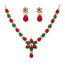 Kriaa Maroon Pota Stone Floral Gold Plated Necklace Set