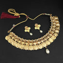 Utkrishtt White Pearl Gold Plated Temple Coin Necklace Set