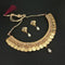 Native Haat White Pearl Gold Plated Temple Coin Necklace Set - N1104545A