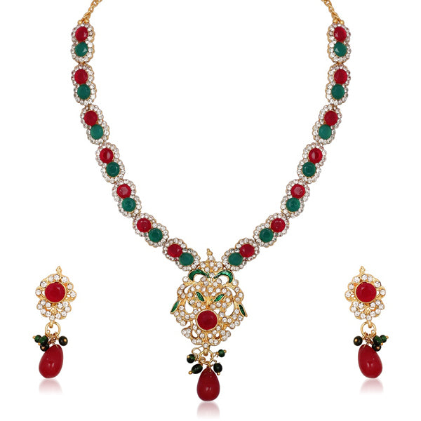 Kriaa Stone Drop Gold Plated Necklace Set