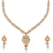 Kriaa Austrian Stone Pearl Drop Gold Plated Necklace Set