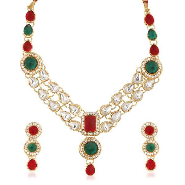 Vivant Charms Kundan Stone Gold Plated Necklace Set - ES