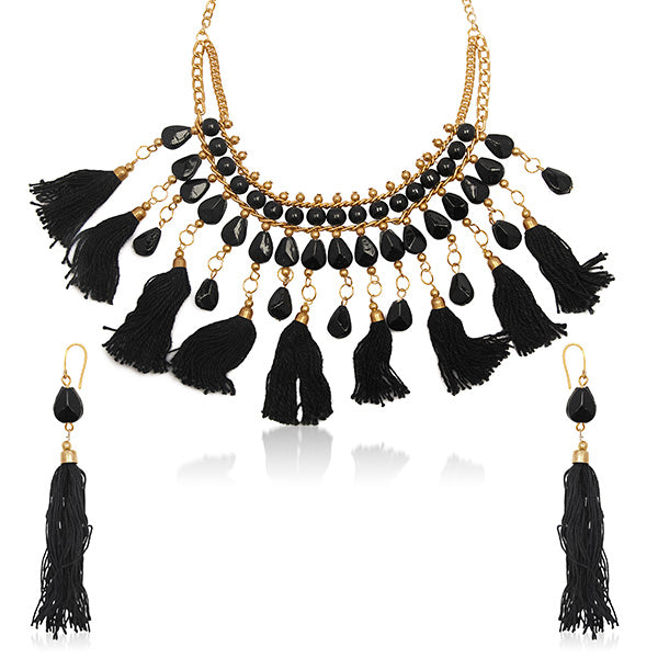 Urthn Gold Plated Black Thread Necklace Set
