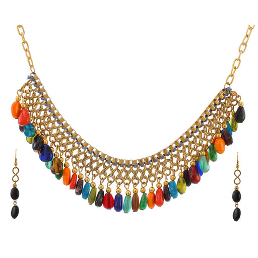 Urthn Multi Beads Drop Gold Plated Necklace Sets
