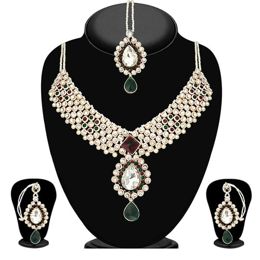 Vivant Charms Stone Necklace Set With Maang Tikka