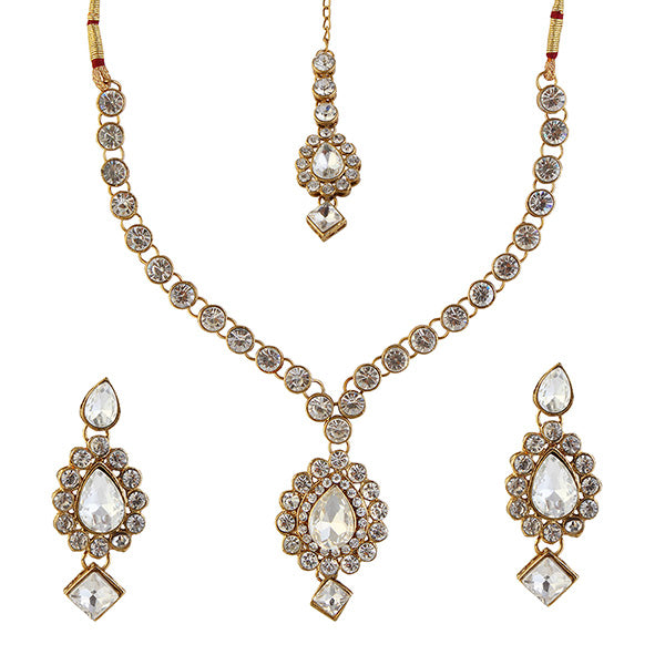 Kriaa Gold Plated Austrian Stone Necklace Set With MaangTikka