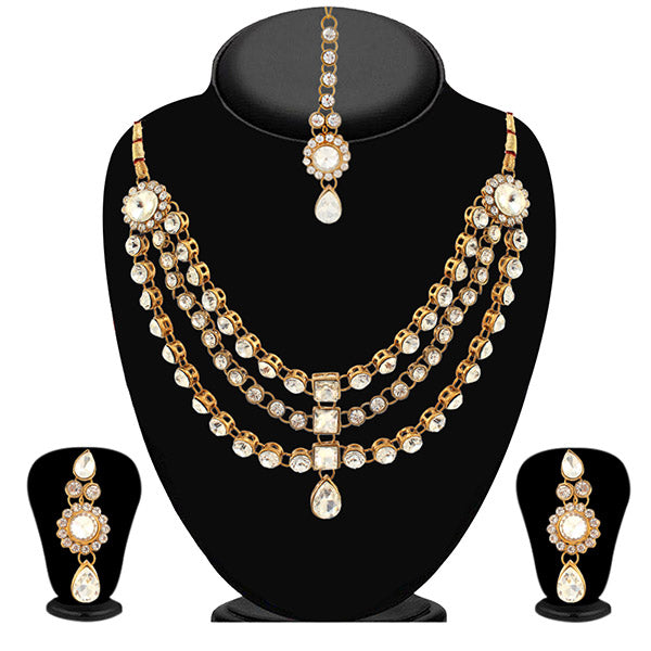 Vivant Charms Pearl Kundan Necklace Set With Maang Tikka