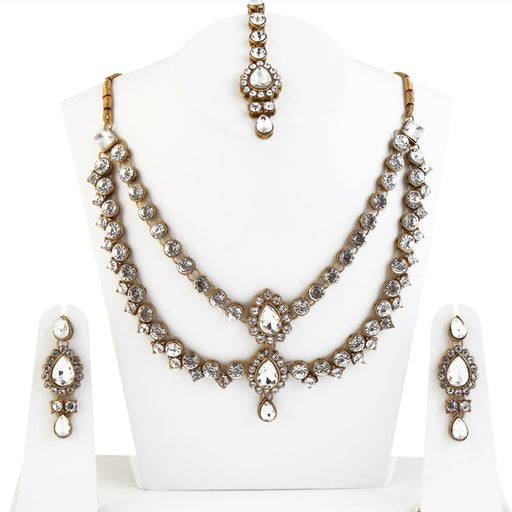 Vivant Charms Gold Plated Necklace Set With Maang Tikka