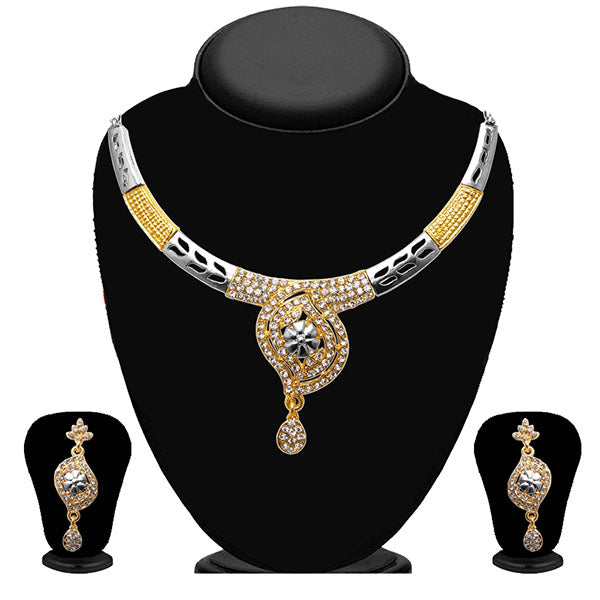Kriaa Austrian Stone Floral Design 2Tone Necklace Set