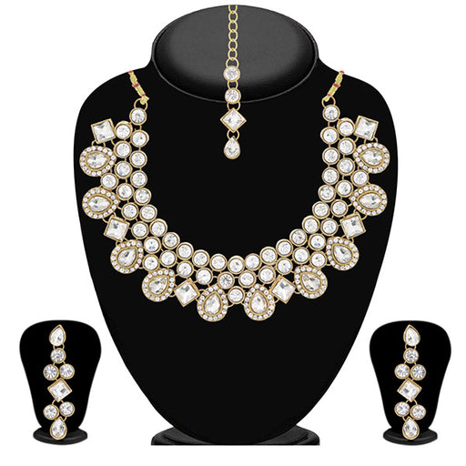 Vivant Charms Stone Pearl Drop Necklace Set With Maang Tikka