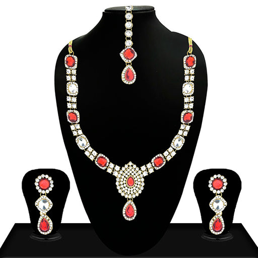 Vivant Charms Red Crystal Stone Neckace Set With Maang Tikka