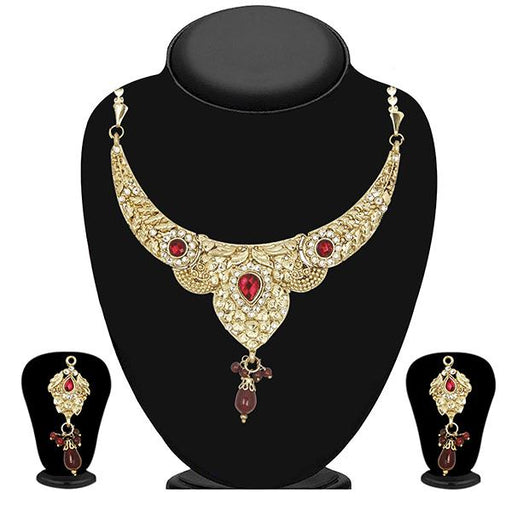 The99Jewel Maroon Austrian Stone Drop Necklace Set
