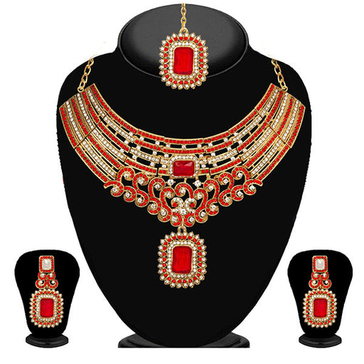 Kriaa Austrian Stone Gold Plated Necklace Set With Maang Tikka