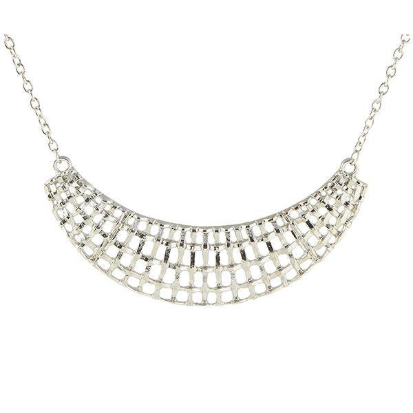 Jeweljunk Silver Plated Statement Necklace - 1105413