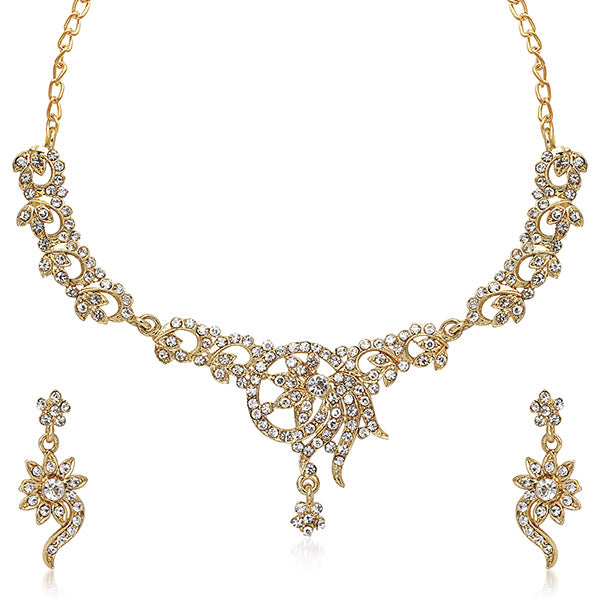 Kriaa White Austrian Stone Gold Plated Necklace Set
